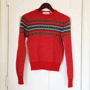 Vintage 70s Red Fair Isle Pullover Sweater S M